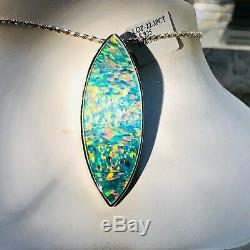 Énorme Pendentif Seaglass Green Blue Red Opale Prototype Lourd Sterling Lourd