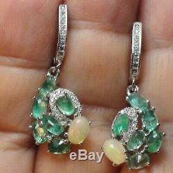 Ethiopie Natural Opal, Vert Émeraude Colombie Boucles D'oreilles Argent Massif 925 Sterling