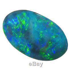 Exceptionnel Bleu-vert-multicolore 16x9mm 2.22ct Solide Opale Black Light Bridge