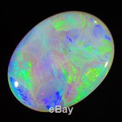 Exceptionnel Neon Green-blue 5.17ct 16x12mm Solide Semi-noir Opale Lightning Ridge Ridge