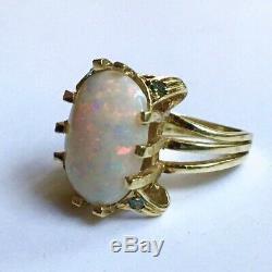 Exquis 10,15 Ct Naturel Opale Rare Diamant Vert 14k Bague En Or Massif Jaune
