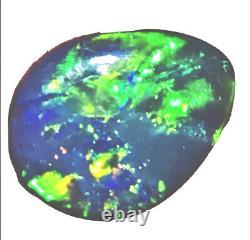 Faire Une Offre! Beau Brillant Green Flash 2.5 Ct Solide Black Lightning Opal
