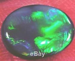 Faire Une Offre! Belle Vert Clair Flash 2.20 Ct Solide Black Lightning Opal