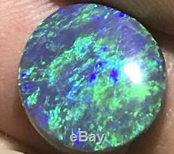 Faites La Meilleure Offre! Bleu Éclatant Et Vert, Opale Noire Fendue Solide De 6,4 Carats