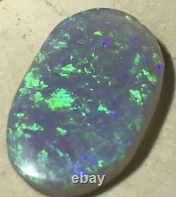 Faites Une Offre! Very Nice Green 5.2ct Solid Lightning Ridge Semi Black Grey Opale