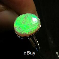 Fantastique Australian Opal Anneau Vert Pierre Feu Argent 925 Massif Anneaux
