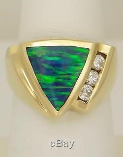 Femme Or 14k Jaune Trillion Cut Black Opal Bague Rond Diamant Rond 1/4 Ct