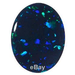 Finest Gem Qualité Bleu-vert 3.25ct 13x10mm Solid Black Opal Lightning Ridge