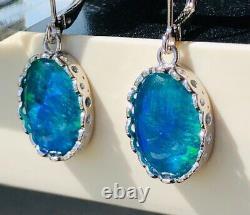 Fire Bomb De Magnifique Blue Green Solid Opal Dangle Boucles D'oreilles Dames Retour De Levier