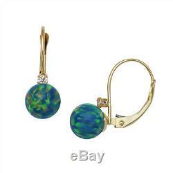 Forme De Boule Verte Opale De Feu Leverback Boucles D'oreilles En Or Jaune 14k Solide