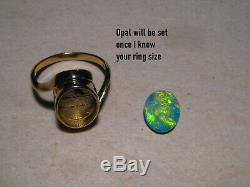 Gem Grade Opal Anneau 4,2 Grammes D'or 14k Solide Jaune