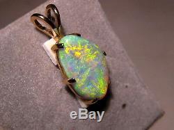 Gemme Australienne Orange Et Verte Avec Pendentif Opale Aaa En Or Jaune 14 Carats