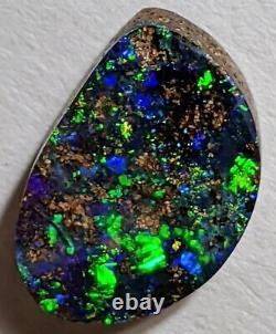 Gemmy, C'est Toi ! 3.9ct Solid Boulder Opal Green Blue Gold Freeform Queensland Au