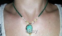 Geode Druzy Avec 16ct Emeraude Et Le Feu 5ct Solide Collier En Or 14k Opale