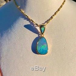Grand 100% Solide Collier En Or 14k Naturel Australien Irlandais Green Opal Doublet