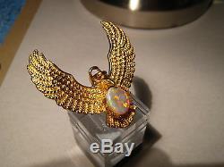 Grand Australian Opal Pendentif Aigle 23 Grammes 22k Or Jaune Solide