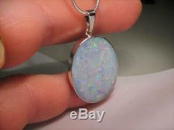 Grand Cadeau En Argent Massif Australien Avec Pendentif En Opale Blanche Naturelle 22.6ct A75