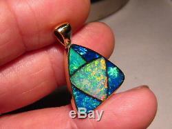 Grand Chef-d'œuvre Brillant Opale Australienne Pendentif Solide En Or Jaune 14 Carats