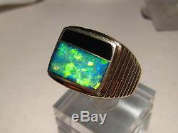 Grand Mens Gem Australian Opal & Obsidian Bague Solide 22 Grams14 K Or