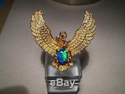 Grand Pendentif Aigle Australien D'opale Noire 23 Grammes En Or Jaune 22k Massif
