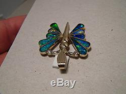 Grand Pendentif Avec Opale Et Diamant Avec Papillon Et Or Massif