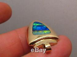 Grand Pendentif D'opale Australienne Arrowhead En Or Jaune 14 Carats