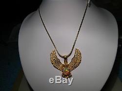 Grand Pendentif Eagle D'opale Australienne 23 Grammes En Or Jaune 22k Massif