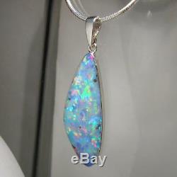 Grand Pendentif En Opale Australienne Incrusté De 10,2 Ct, Véritable Cadeau En Argent 925 À Gemme A08