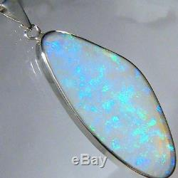 Grand Pendentif Solide En Cristal Australien Avec Opale Australienne En Argent Sterling 14ct A31