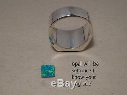 Grande Bague Pour Homme Avec Opale Et Obsidienne D'australie En Argent Sterling Massif Ou En Or
