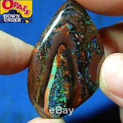 Green & Violet - Pendentif D'opale Boulder En Forme D'écorce De Koroit Avec Écrou, Naturel