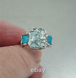 Hadar Designers Sterling Silver Antique Roman Glass Opal Ring Taille 8 (as) Vente