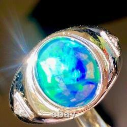 Handsome Solid W Australian Black Opal Ring Hommes Aurora Borealis Blue Green 11