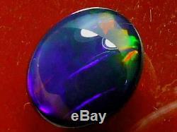 Haut Dôme Cut Rouler Couleur Motif Qualité Naturel Solide Black Opal 4,78 Carats