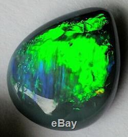 High Dome! 5.6ct Solid Black Opal Vert Clair Et Bleu Poire De Lightning Ridge