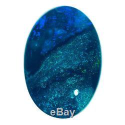 Impressionnant 3.19ct Riche Marine Blue-vert Solid Opale Noire Lightning Ridge
