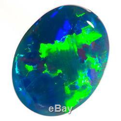 Impressionnant 3.69ct Bleu Vert 13x10mm Solide Cristal Noir Opal Lightning Ridge