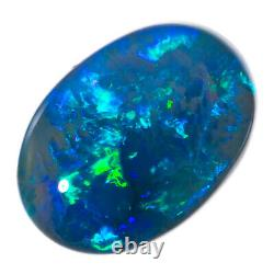 Impressionnant 3.94ct Saphir Vert Solid Opale Noire Lightning Ridge
