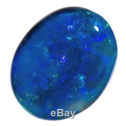 Impressionnant 4.01ct Flashfire Bleu-vert Solide Black Opal Lightning Ridge 11x9mm