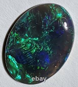 Impressionnant! 5.94ct Noir Massif Opal Bleu Vert Broadflash Oval Lightning Ridge