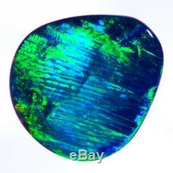 Incroyable Bleu-vert 12x11mm D'or 1.76ct Solid Black Opal Lightning Ridge
