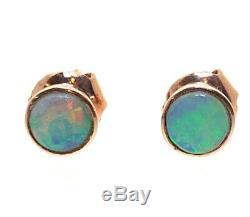 Incroyables Dormeuses En Opale Solide 9 Carats En Or Rose, Vert, Rose Et Bleu