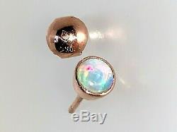 Incroyables Dormeuses En Opale Solide 9 Carats En Or Rose Vert Rose Et Bleu