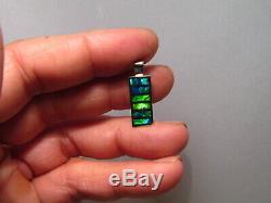 Inlay Opale Pendentif Solide 14 K Or Blanc Au Néon Vert Et Bleu
