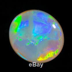 Knockout Gold-green-blue 2.96ct 11x10mm Solide Semi-noir Opal Lightning Ridge