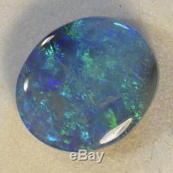 Lovely Blues Et Vert Naturel Solid Lightning Ridge Australien Opale Noire 14111