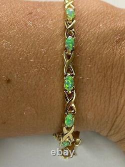 Magnifique! 14k Solid Yellow Gold & Green Opal Womens 4mm Tennis Bracelet