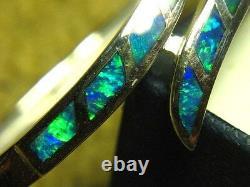 Magnifique Bracelet D'incrustation D'opale D'argent Massif