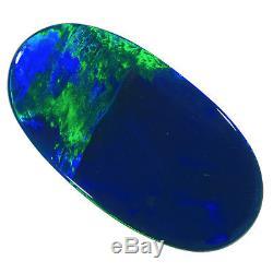 Magnifique Emeraude Verte-bleue 18x9mm 3.49ct Solide Opale Black Light Opale