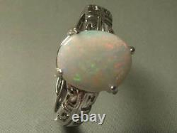 Magnifique Natural Solid White Opal 2.48ct Et 2.6g Sterling 925 Silver Ring